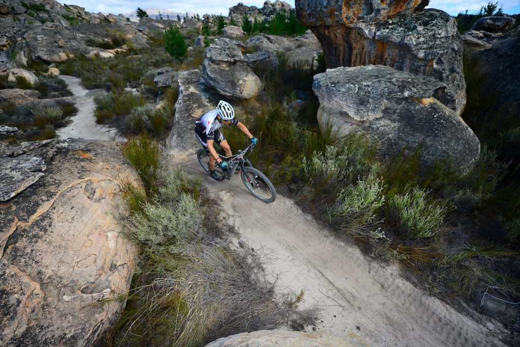 The high volume of singletrack and rocky terrain make the Momentum Health Tankwa Trek, presented by Biogen a complete all-round challenge for committed mountain bike racers. Photo credit: www.zcmc.co.za