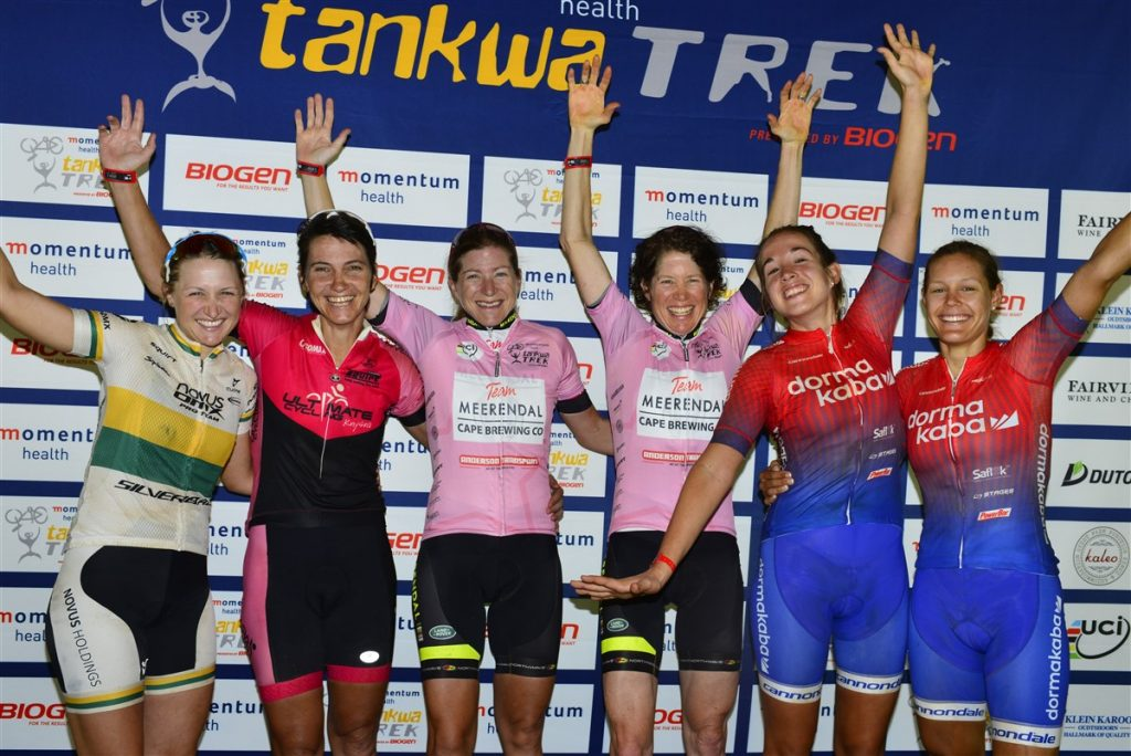 The Tankwa Trek women's GC podium. From left to right: Mariske Strauss, Yolande de Villiers, Jennie Stenerhag, Esther Suss, Candice Lill and Vera Adrian.
