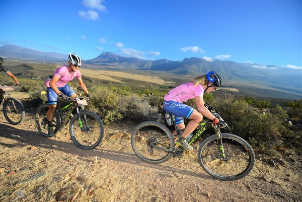 Last year's women's winners, Jennie Stenerhag (front) and Robyn de Groot, will be back, but in different teams and categories at the Momentum Health Tankwa Trek, presented by Biogen. Photo credit: www.zcmc.co.za