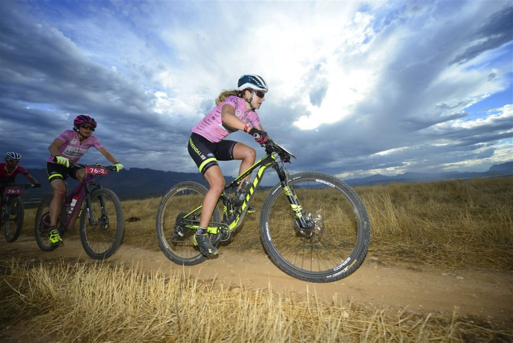 Jennie Stenerhag – along with Esther Süss (left) – won her third consecutive title at Momemtum Health Tankwa Trek, presented by Biogen on Sunday. Photo credit: www.zcmc.co.za