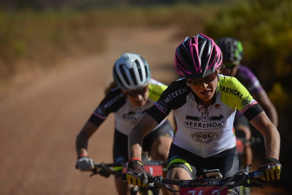Esther Süss (front) and Jennie Stennerhag led from early on and won the women's category on Stage 1 of the Momentum Health Tankwa Trek, presented by Biogen on Friday. Photo credit: www.zcmc.co.za