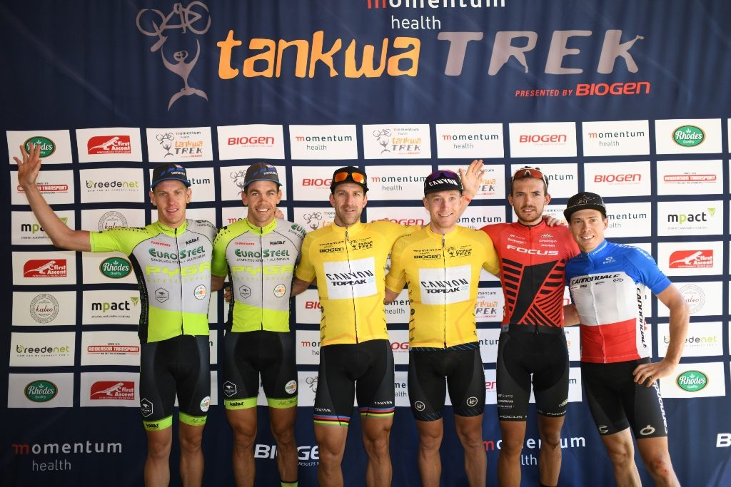 The men's general classification podium, after Stage 2. From left to right: Matthys Beukes, Philip Buys, Alban Lakata, Kristian Hynek, Marcel Guerrini and Maxime Marotte. Photo by Zoon Cronje.