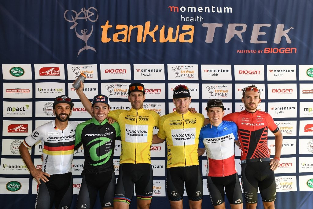 Momentum Health Tankwa Trek, presented by Biogen, Stage 1: UCI Elite Men's Podium. From left to right: Manuel Fumic, Henrique Avancini, Alban Lakata, Kristian Hynek, Maxime Marotte & Marcel Guerrini. Photo by Zoon Cronje.