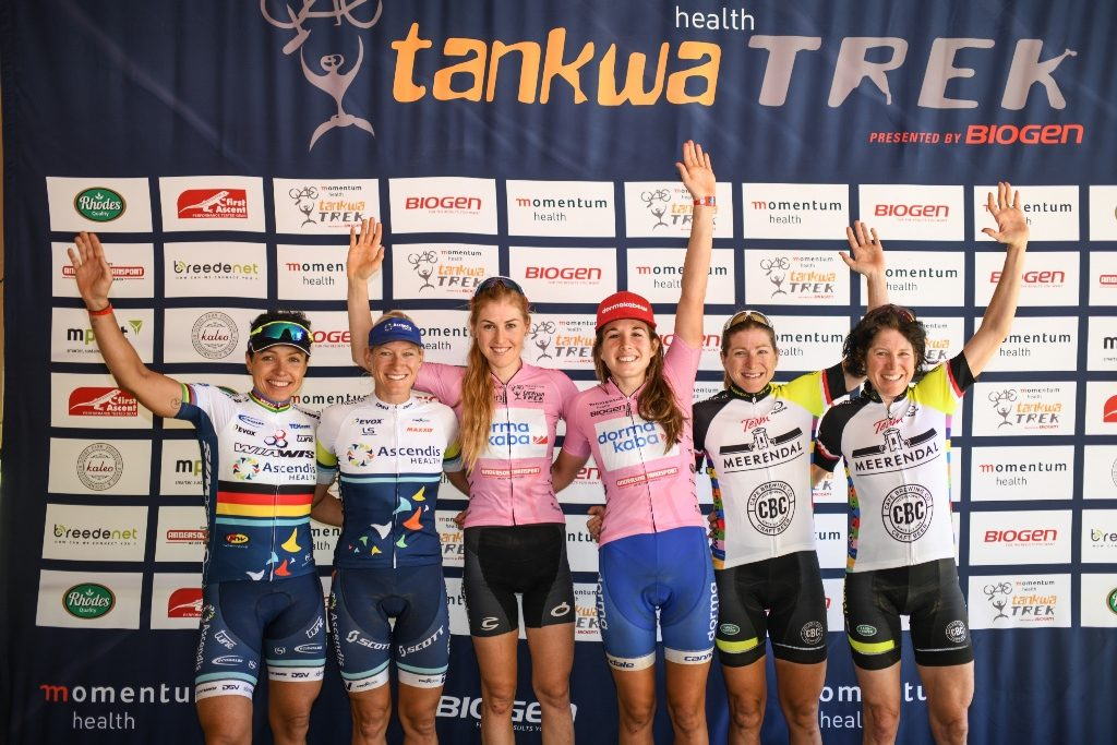 Momentum Health Tankwa Trek, presented by Biogen, Stage 1: UCI Elite Women's Podium. From left to right: Sabine Spitz, Robyn de Groot, Helen Grobert, Candice Lill, Jennie Stenerhag & Eshter Süss. Photo by Zoon Cronje.